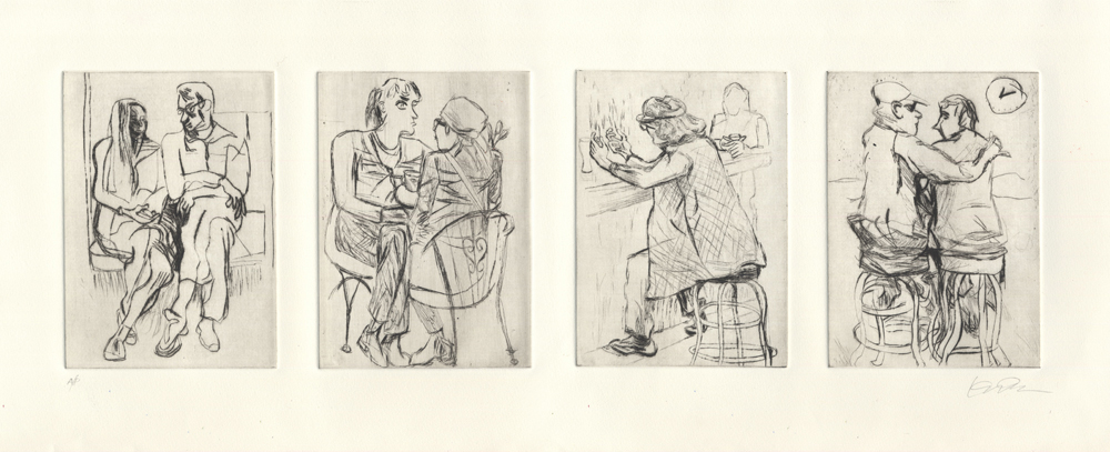 Four drypoint prints of people sketched in New York City